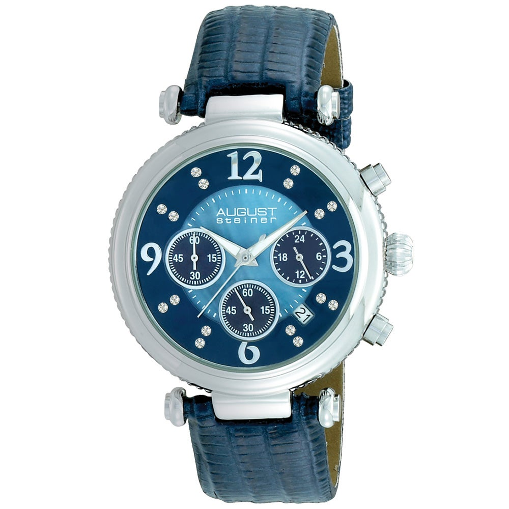 August Steiner Women's Crystal Chronograph Blue-Strap Watch with Stainless Steel Bezel