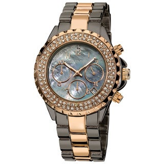 August Steiner Women's Crystal Chronograph Two-Tone Bracelet Watch with FREE Bangle