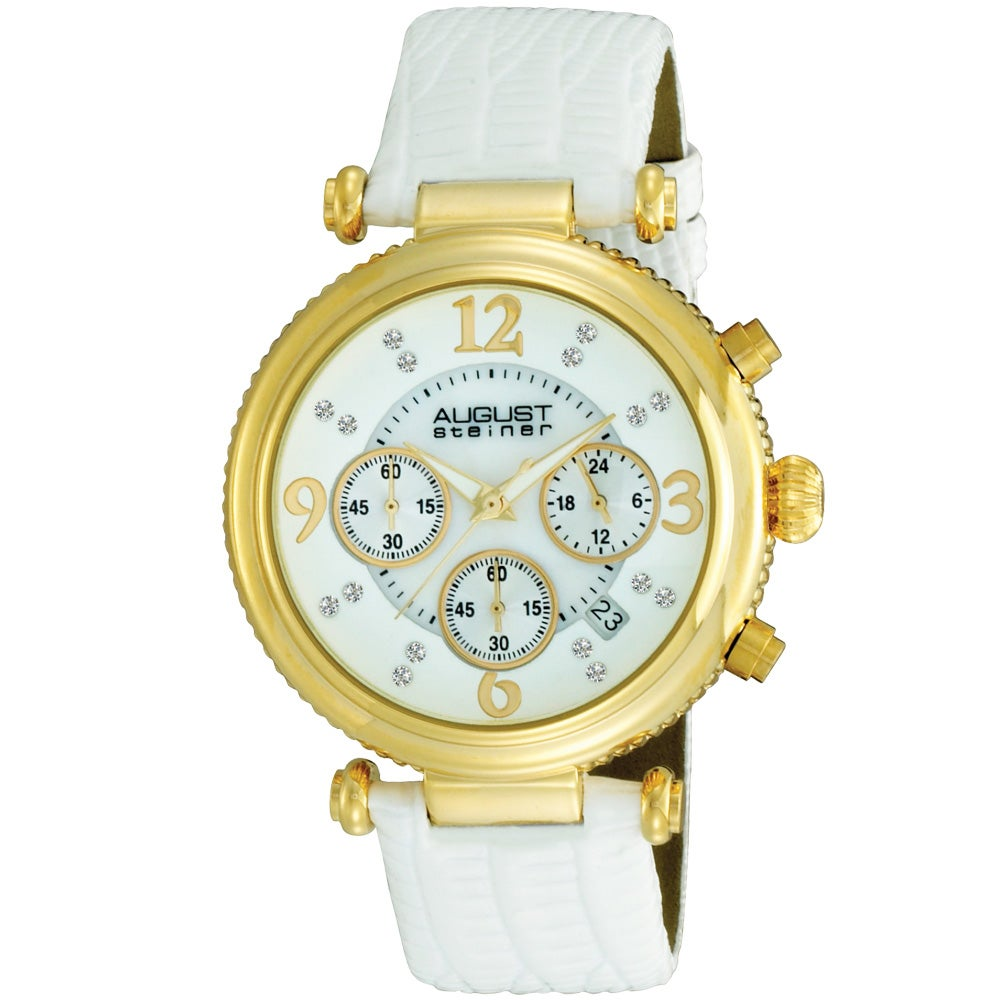 August Steiner Women's Crystal Chronograph White-Strap Watch with Gold Bezel