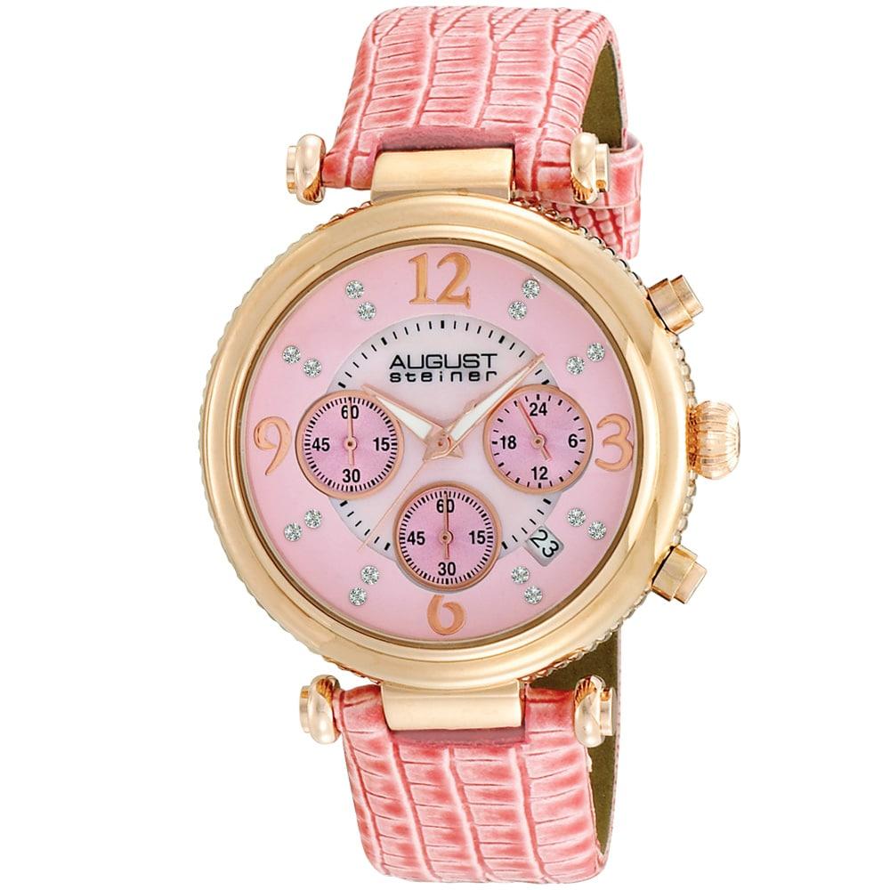 August Steiner Women's Crystal MOP Chronograph Strap Watch