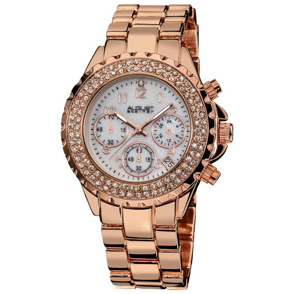 August Steiner Women's Crystal Chronograph Rose-Tone Bracelet Watch with FREE GIFT