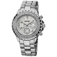 August Steiner Women's Silver-Tone Crystal Chronograph Bracelet Watch