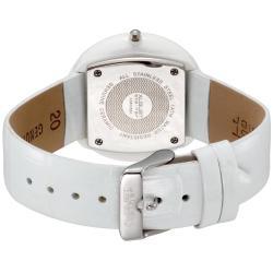 August Steiner Women's Ceramic Case Quartz Fashion White Strap Watch - Thumbnail 1