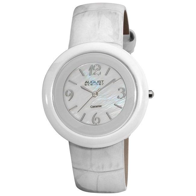 August Steiner Women's Ceramic Case Quartz Fashion White Strap Watch