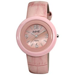 August Steiner Women's Ceramic Case Quartz Pink Strap Watch