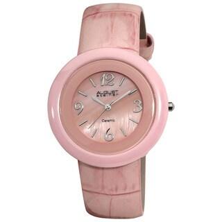 August Steiner Women's Ceramic Case Quartz Pink Strap Watch
