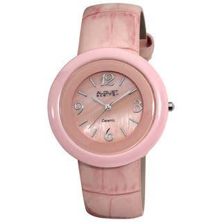 August Steiner Women's Ceramic Case Quartz Pink Strap Watch|https://ak1.ostkcdn.com/images/products/6479152/P14072691.jpg?impolicy=medium