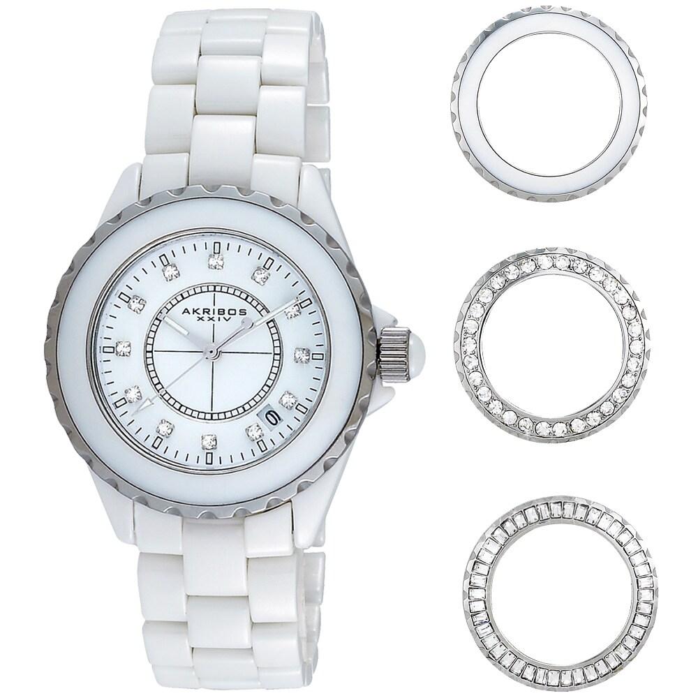 Akribos XXIV Women's Ceramic Interchangeable Bezel Watch
