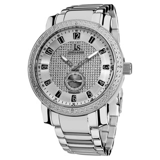 Joshua & Son's Men's Stainless Steel Diamond Silver-Tone Bracelet Watch