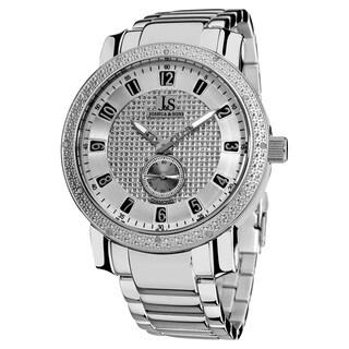 Joshua & Son's Men's Stainless Steel Diamond Silver-Tone Bracelet Watch