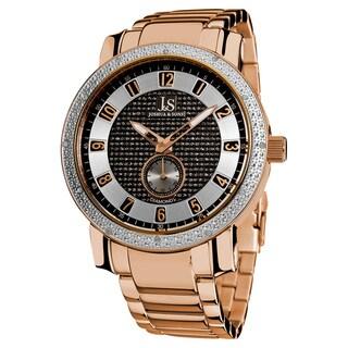 Joshua & Son's Men's Stainless Steel Quartz Diamond Rose-Tone Bracelet Watch with FREE GIFT