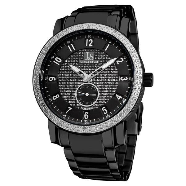 Joshua & Son's Men's Stainless Steel Diamond Black Bracelet Round Watch with FREE GIFT