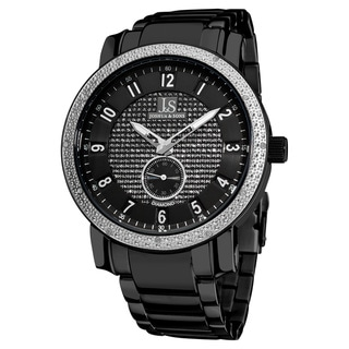 Joshua & Son's Men's Stainless Steel Diamond Black Bracelet Round Watch
