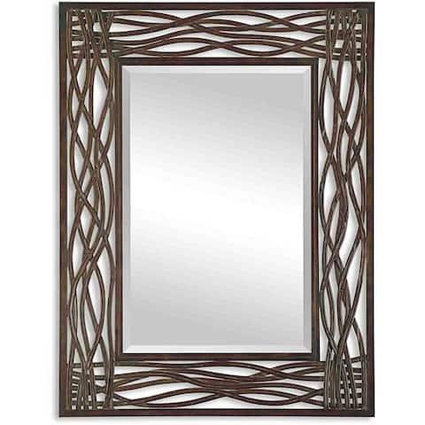 Uttermost Dorigrass Distressed Mocha Rustic Metal Framed Mirror - 32x42x0.5