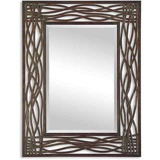 uttermost dorigrass distressed mocha rustic metal framed mirror - Metal Mirror Frame