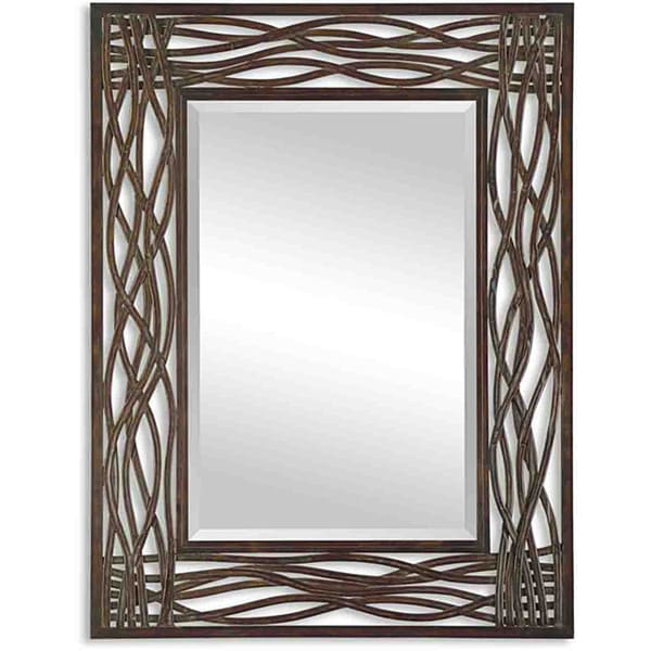 Brand-new Uttermost Dorigrass Distressed Mocha Rustic Metal Framed Mirror  KH54