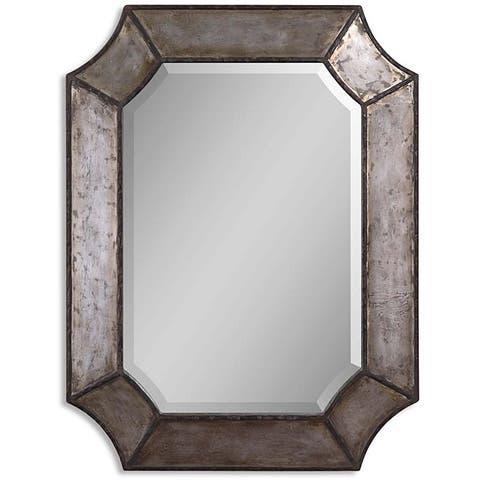 Distressed Aluminum Rustic Framed Mirror