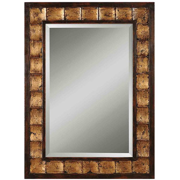 Uttermost Justus Distressed Mahogany Wood Framed Mirror