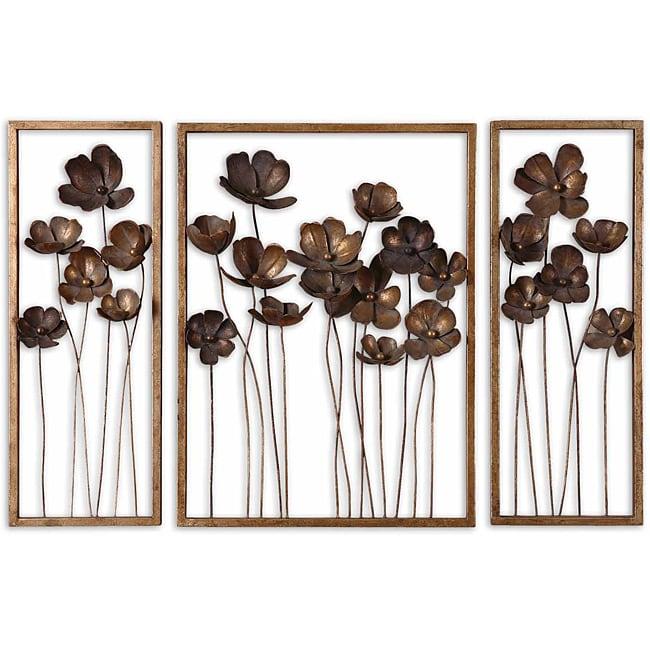 Uttermost antiqued gold leaf framed metal tulips