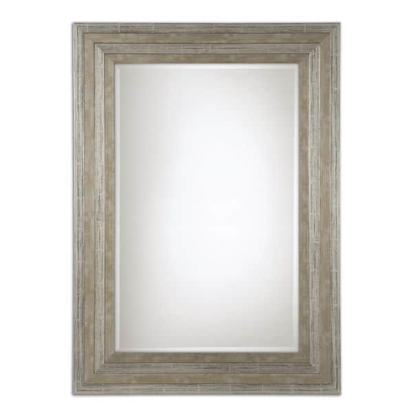 Uttermost Hallmar Distressed Silver Wood Framed Mirror 25 5x35 5x1