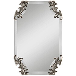 Uttermost Andretta Rococo Burnished Antique Silver Frameless Mirror