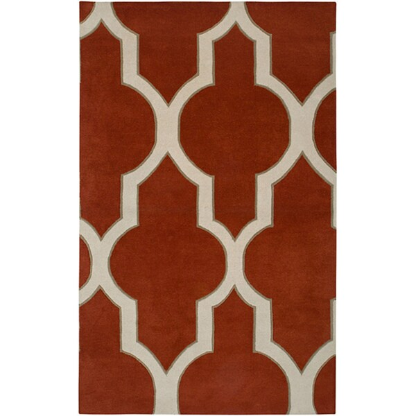 Hand-tufted Averlo Rust Area Rug (5' x 8') - 5' x 8'