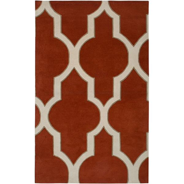 Hand-tufted Averlo Rust Area Rug (8' x 10') - 8' x 10'