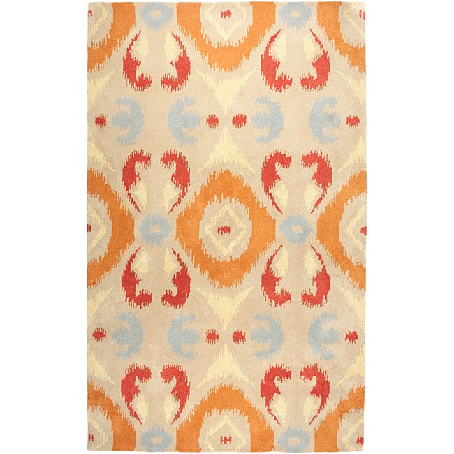Hand-Tufted Averlo Beige Oriental Area Rug (8' x 10')