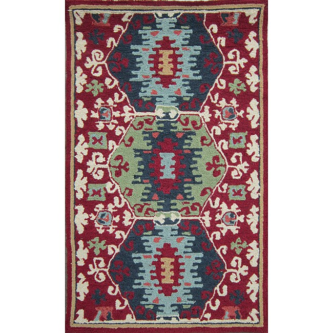 Hand-hooked Rancho Red Rug (2'3 x 3'9)