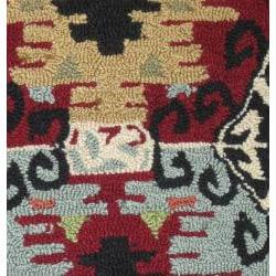 Hand-hooked Rancho Black Rug (2'3 x 3'9)
