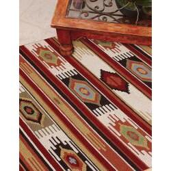Hand-hooked Rancho Ivory/ Multi Rug (5' x 7'6)