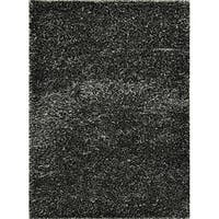 Hand-woven Charcoal Grey Shag Area Rug - 5' x 7'6""