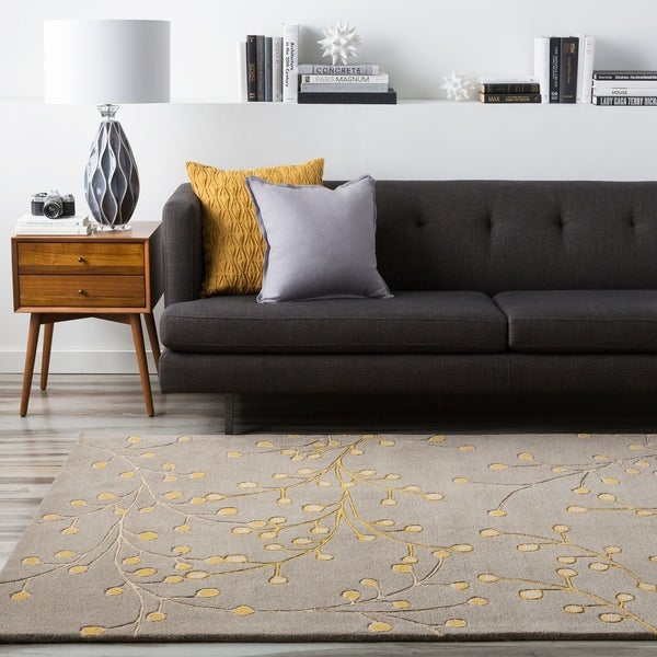 Hand Tufted Gray Floral Wool Jeweled Area Rug - 5' x 8'