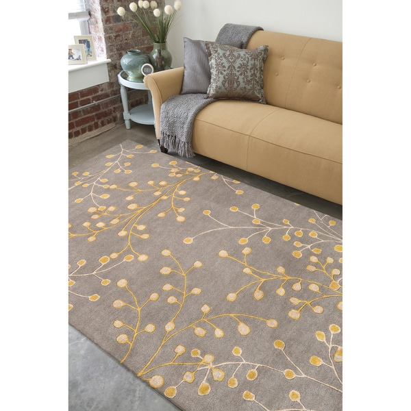 Hand Tufted Gray Floral Wool Jeweled Rug (5' x 8')