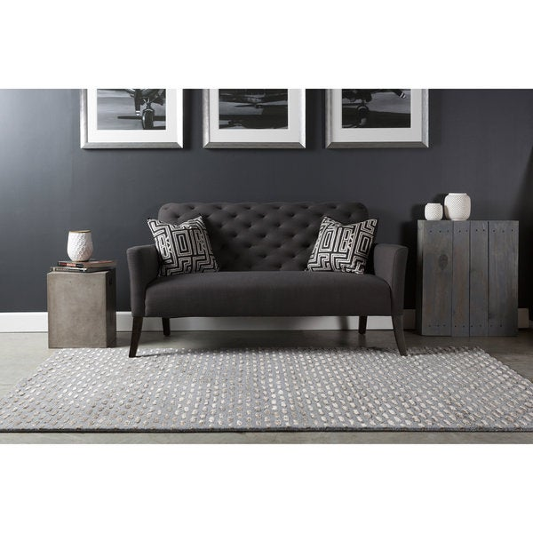 Silver Orchid Pradot Hand-tufted Solid Grey Wool Area Rug (8' x 11')