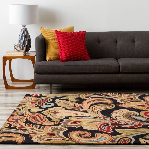 Hand Tufted Black Wool Ages Area Rug - 8' x 11'