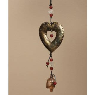 Handmade Iron and Glass Heart of the Matter Hanging Art (India)
