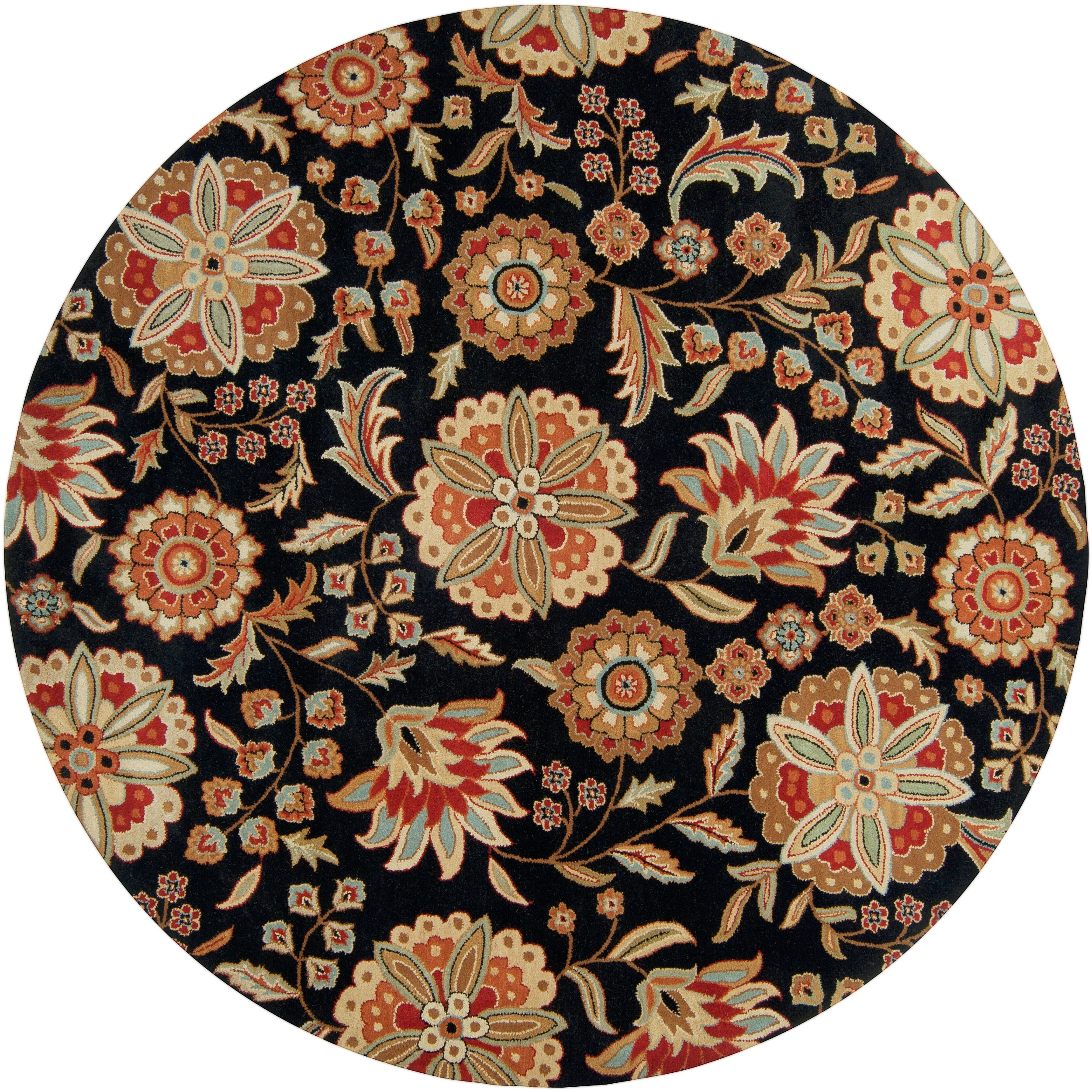 Hand-tufted Black Treasures Wool Rug (8' Round) - Thumbnail 0