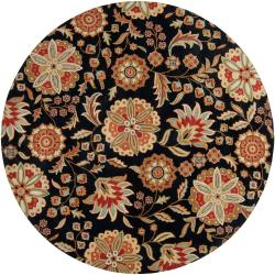 Hand-tufted Black Treasures Wool Rug (8' Round)