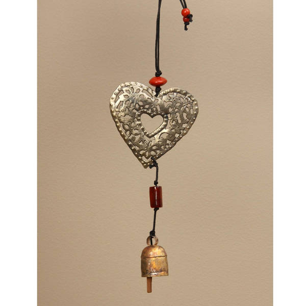 Handmade Copper and Glass Filigree Heart Hanging Art (India)