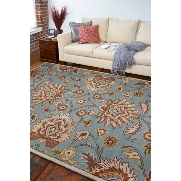 Hand-tufted Wool Blue Auld Area Rug (5' x 8')
