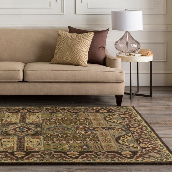 Hand-tufted Brown Navi Wool Area Rug - 5' x 8'