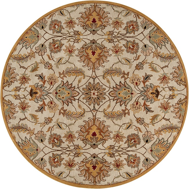 Sony Hand-tufted Gold Snoop Wool Rug (6' Round), Beige, S...
