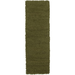 Hand-woven Green Continuum Colorful Plush Shag New Zealand Felted Wool Rug (4' x 10')