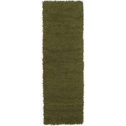 Hand-woven Continuum Green Colorful Plush Shag New Zealand Felted Wool Area Rug (4' x 10')