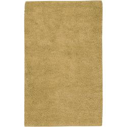 Hand-woven Harp Gold Colorful Plush Shag New Zealand Felted Wool Rug (4' x 10')