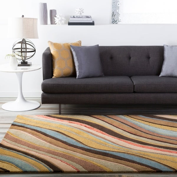 Hand-tufted Contemporary Multi Colored Striped Hercules New Zealand Wool Abstract Area Rug - 9' x 13'