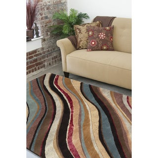 The Curated Nomad Pinos Hand-tufted Multicolored Striped New Zealand Wool Area Rug - 5' x 8'