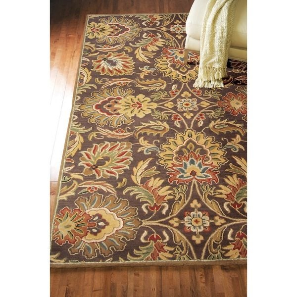 Hand Tufted Crosby Chocolate Brown Floral Wool Rug 6 X 9