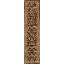Hand-tufted Traditional Vechur Chocolate Floral Border Wool Rug (2'6 x 8')